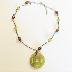 Sterling Silver and carved jade pendant necklace